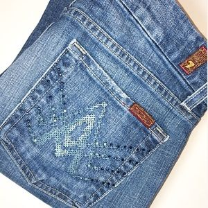 "7 For All Mankind Crystal Stud ""A"" Pocket Jeans 27"